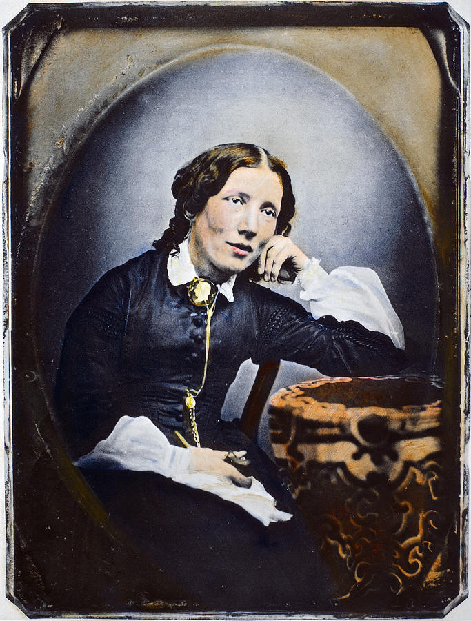 1852 Photograph - Harriet Beecher Stowe (1811-1896). American Abolitionist And Writer. Oil Over A Daguerrotype, C1852 by Granger