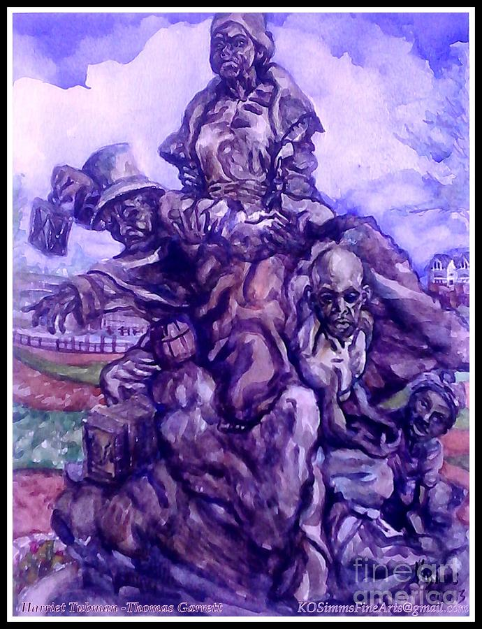 Black Painting - Harriet Tubman-underground Railroad-black Moses by Keith OBrien Simms