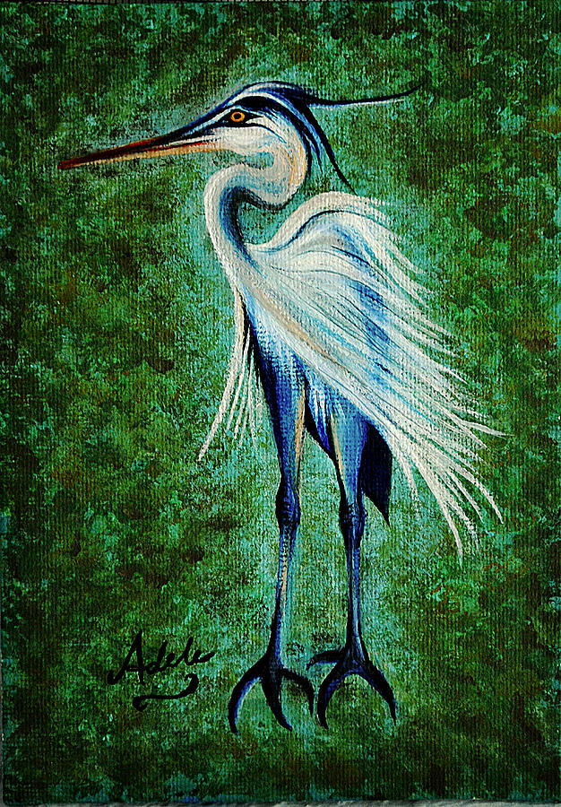 Great Blue Heron Painting - Harry Heron by Adele Moscaritolo