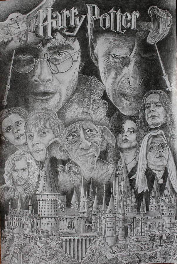 Harry Potter Montage Drawing by Mark Harris
