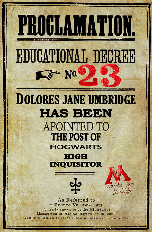 Harry Potter Proclamation Educational Decree 23 by Pete ...