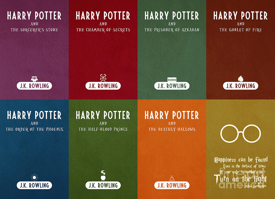 Harry Potter Book Cover Art Posters ~ Harry potter series book cover movie poster art digital