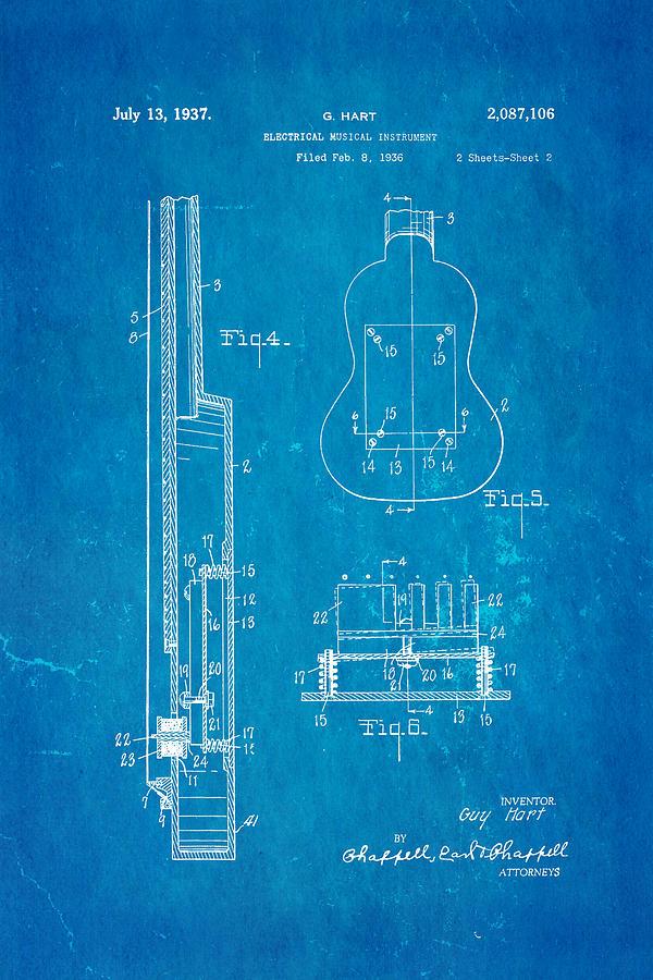 Hart gibson first electric guitar 2 patent art 1937 blueprint famous photograph hart gibson first electric guitar 2 patent art 1937 blueprint by ian monk malvernweather Images