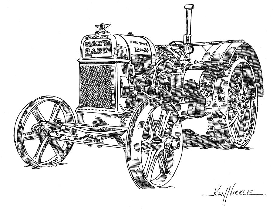 Tractor Drawing - Hart-parr 12-24 E by Ken Nickle
