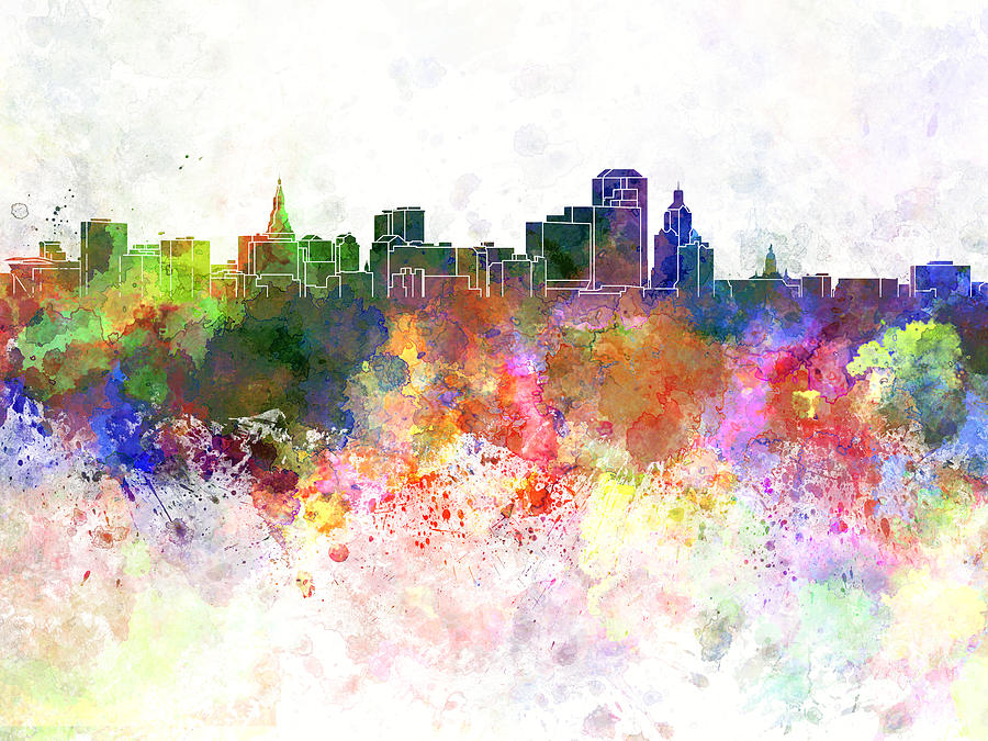 Hartford Skyline In Watercolor Background Painting
