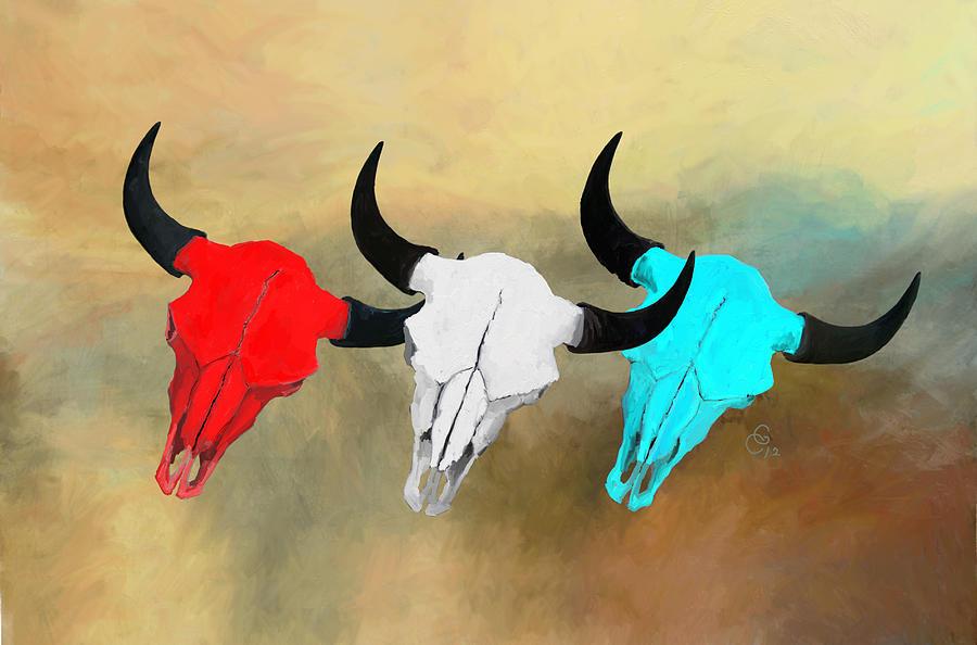 Buffalo Skulls Painting - Harts Camp Buffalo Skulls by G Cannon