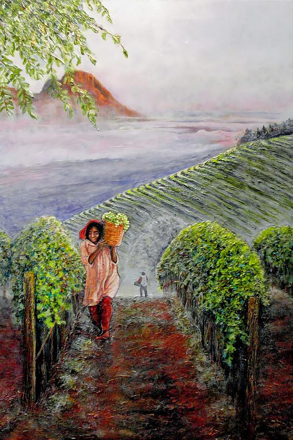 Vineyard Painting - Harvest At Dawn by Michael Durst