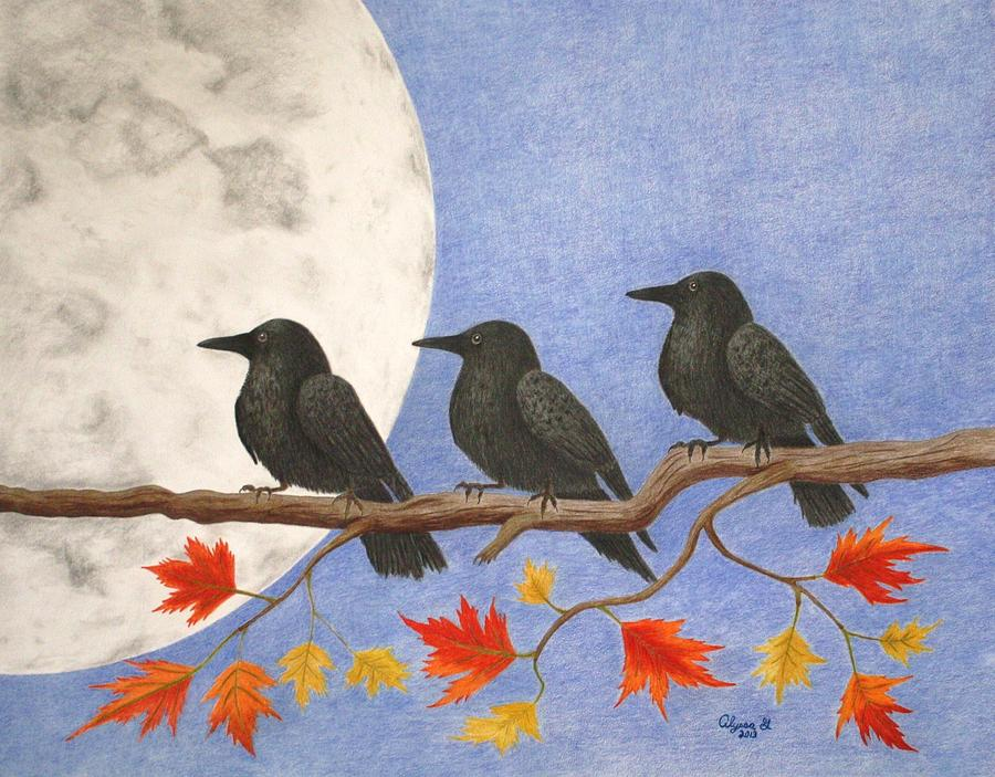 Moon Drawing - Harvest Crows by Alyssa Glosson