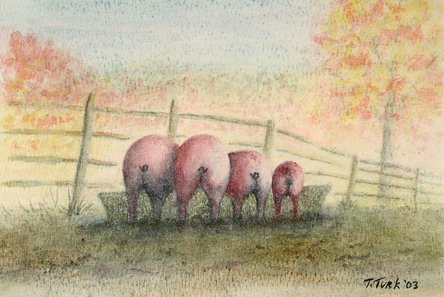 Pig Painting - Harvest Feast by Tim Turk