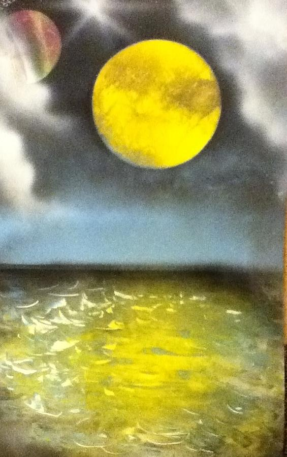 Water Painting - Harvest Moon by Angel Griffin