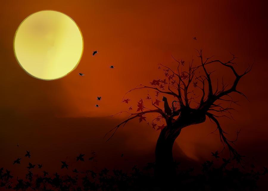 Moon Digital Art - Harvest Moon by Hazel Billingsley