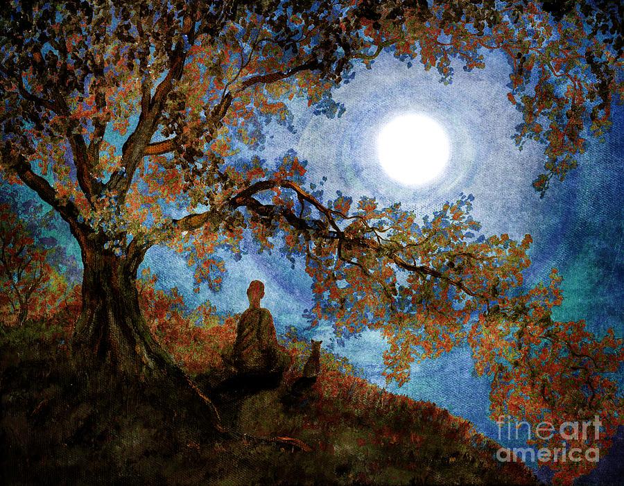 Zen Digital Art - Harvest Moon Meditation by Laura Iverson