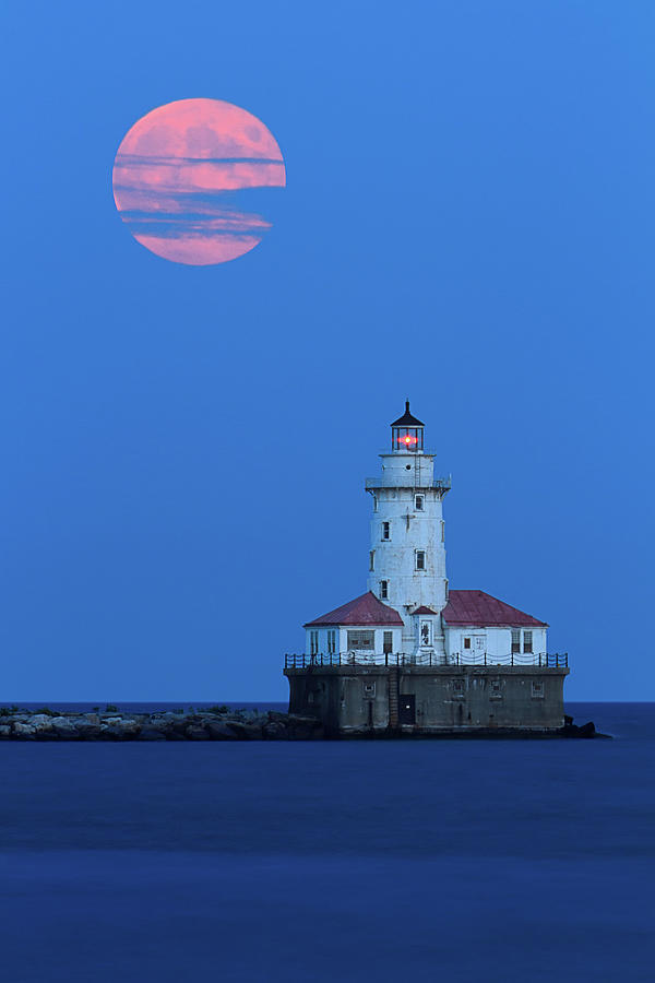 Harvest Moon Over Chicago Harbor Photograph by Katherine Gendreau Photography
