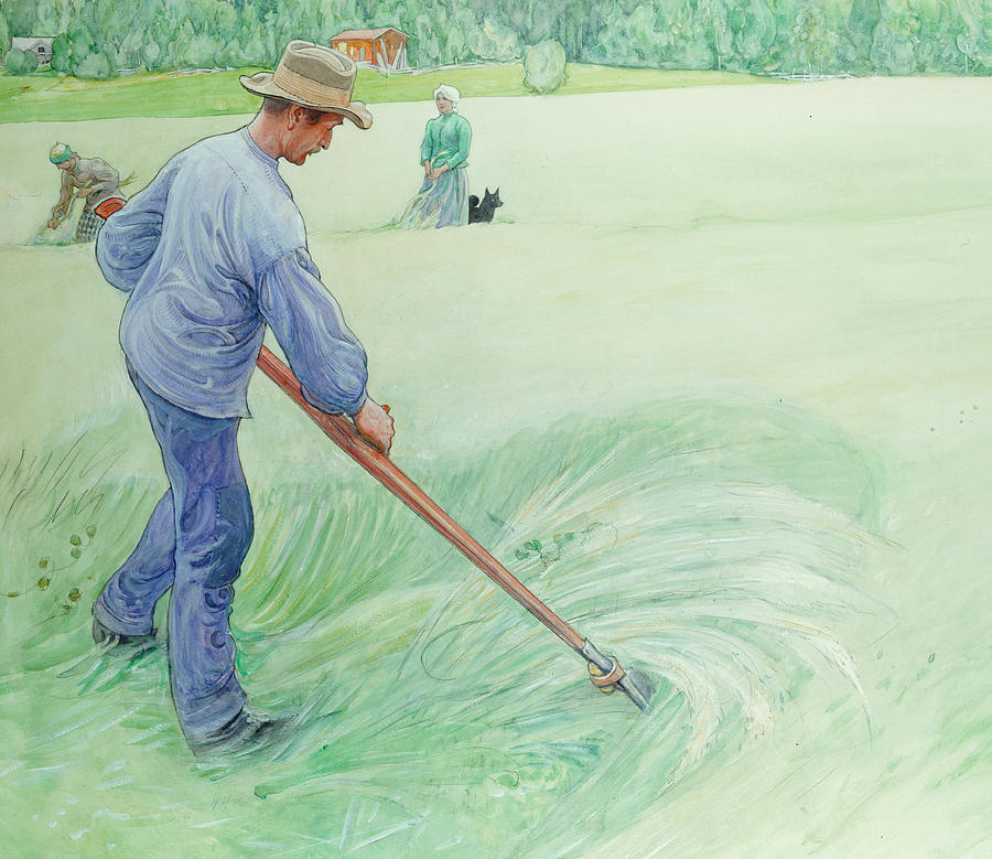 Thresher Painting - Harvesters by Carl Larsson