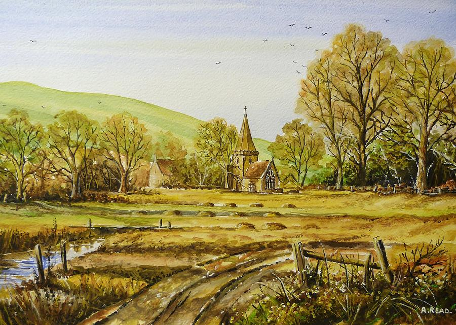 Landscape Painting - Harvesting Fields by Andrew Read
