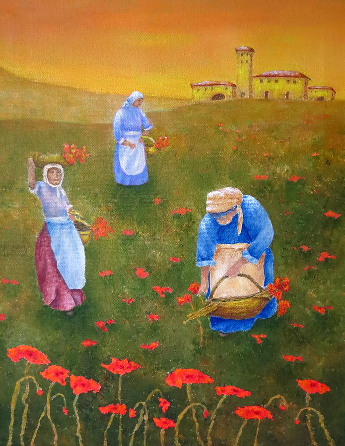 Italy Painting - Harvesting Poppies In Tuscany by Pamela Allegretto