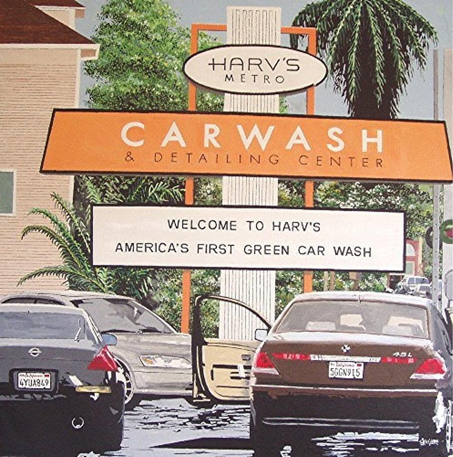 Sacramento Painting - Harvs Car Wash by Paul Guyer