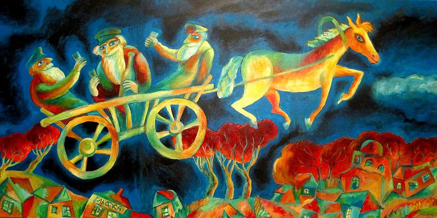 Jewish Painting - Hasidishe Journey To Rebbe  by  Leon Zernitsky
