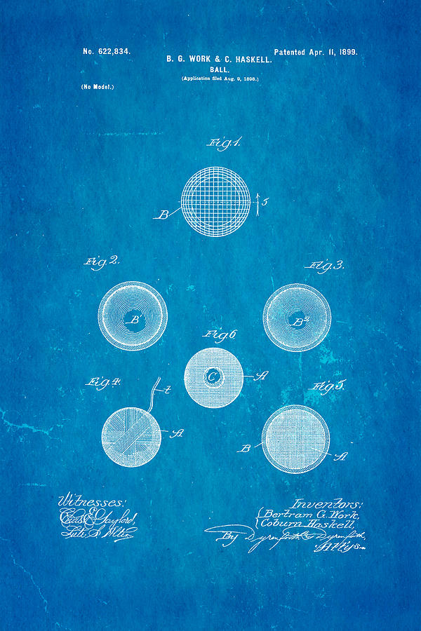 Famous Photograph - Haskell Wound Golf Ball Patent 1899 Blueprint by Ian Monk