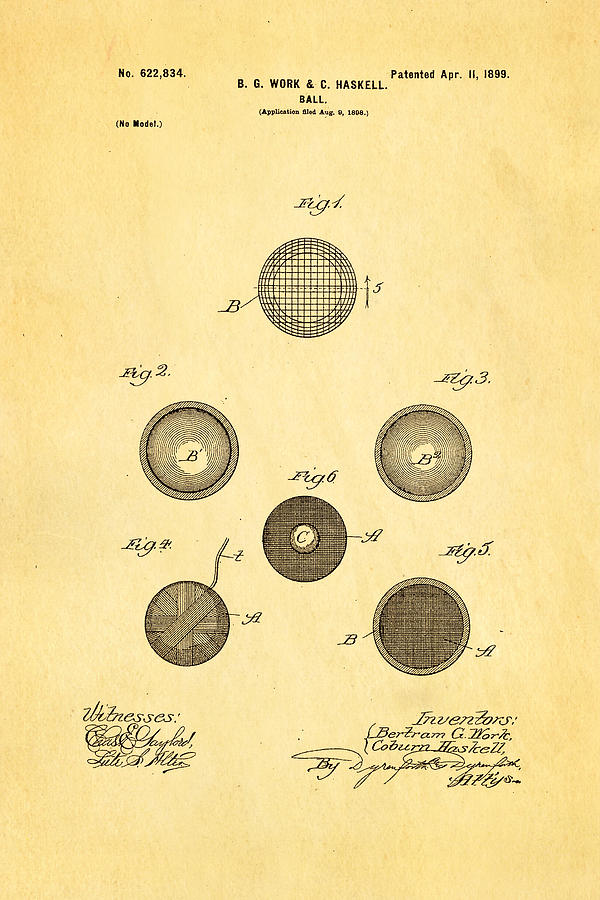 Famous Photograph - Haskell Wound Golf Ball Patent 1899 by Ian Monk