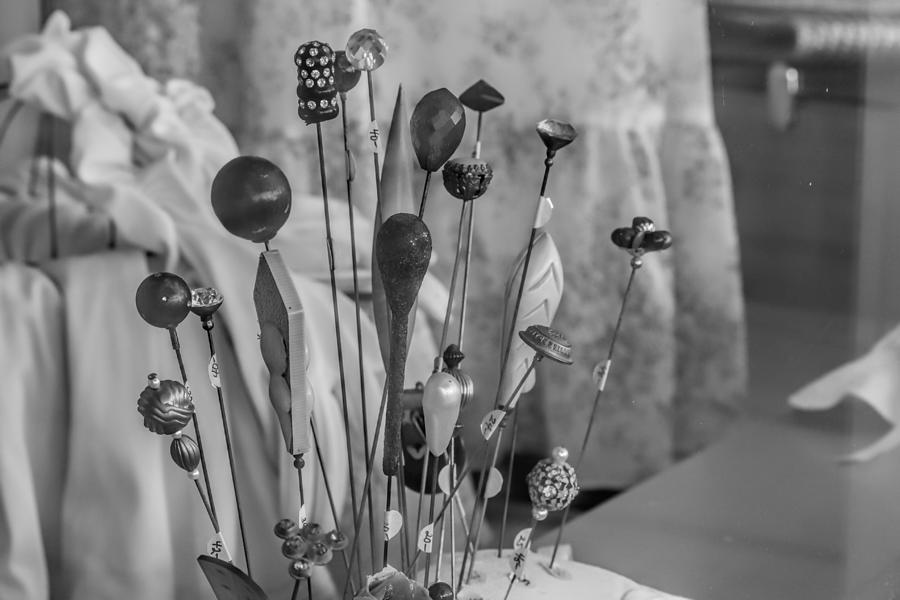 Hat Pins Black And White Photograph by Cathy Anderson