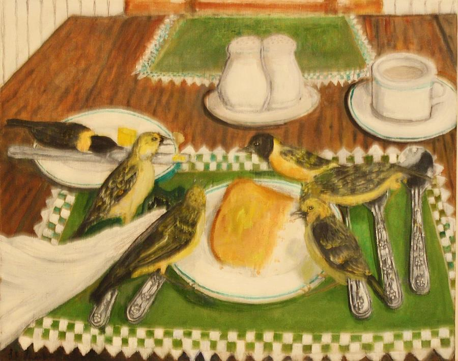 Bird Painting - Hate To Eat Alone by Larry Lamb