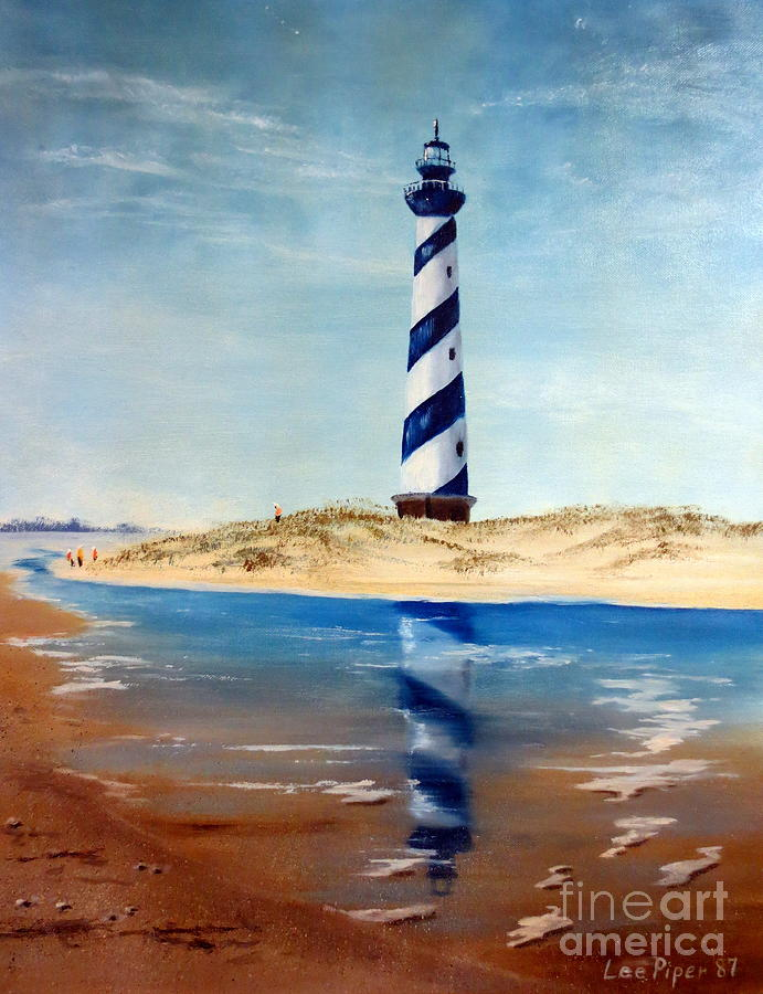 Oil Painting Painting - Hatteras Lighthouse by Lee Piper