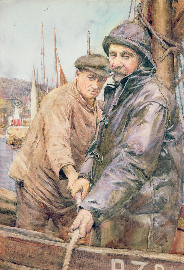 Cornish Drawing - Hauling In The Net by Henry Meynell Rheam