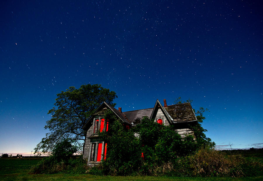 Haunted Farmhouse At Night Photograph