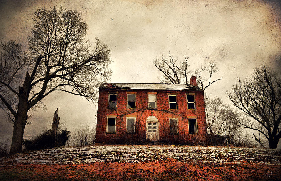 Abandoned House Photograph - Haunted In The Brick by Emily Stauring