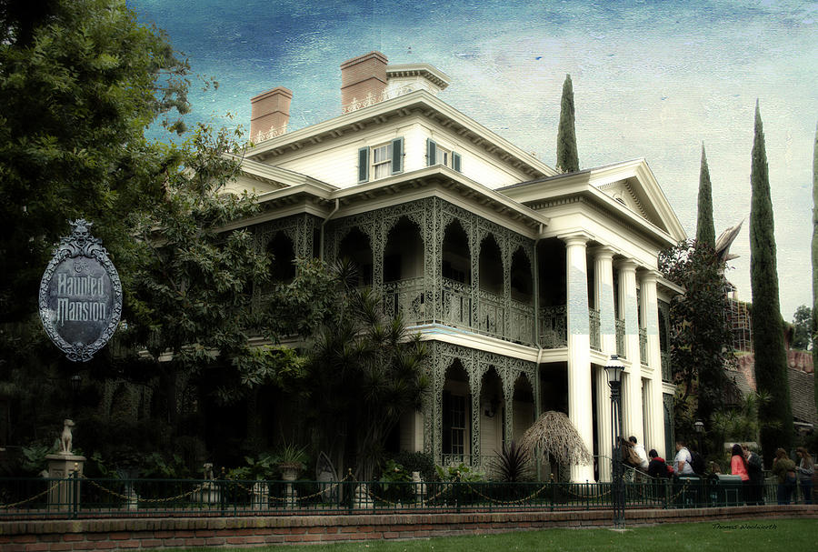 Disney Photograph - Haunted Mansion New Orleans Disneyland Textured Sky by Thomas Woolworth