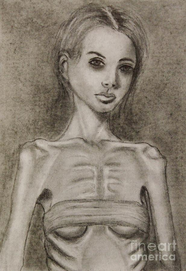 Anorexia Drawing - Haunted by Michael Cross