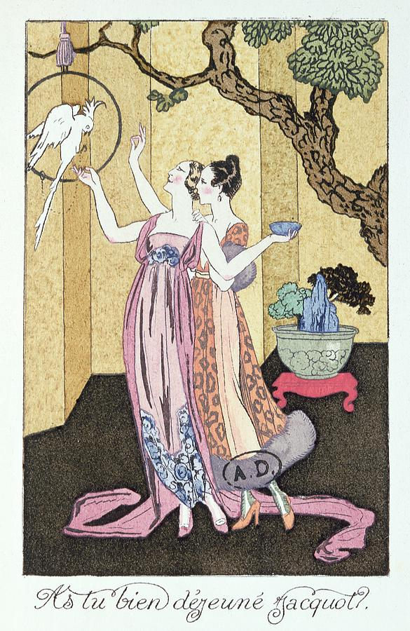Parrot Painting - Have You Had A Good Dinner Jacquot? by Georges Barbier
