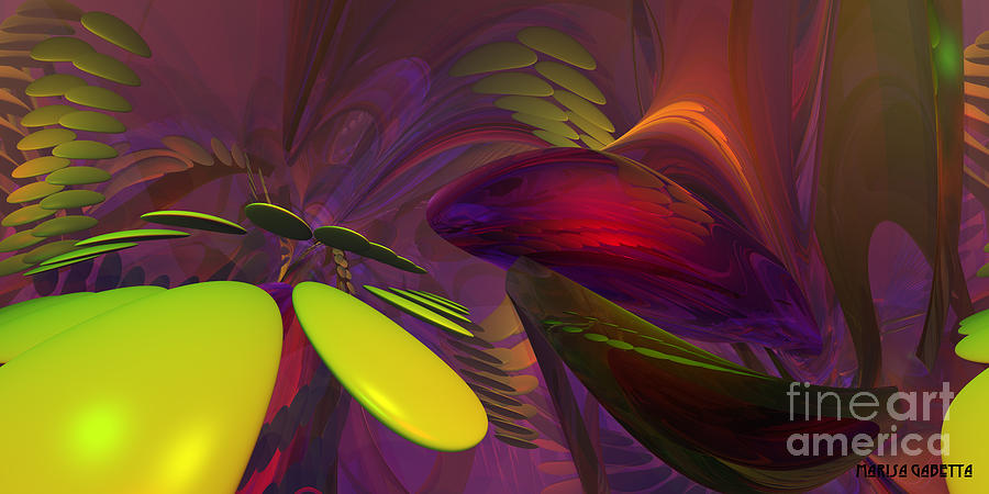 Abstract Digital Art - Having A Ball by Marisa Gabetta
