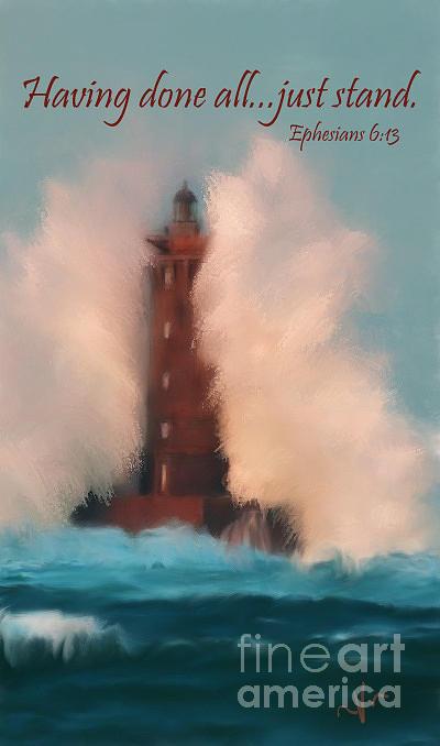 Lighthouse Digital Art - Having Done All..just Stand by Voniece Matthews