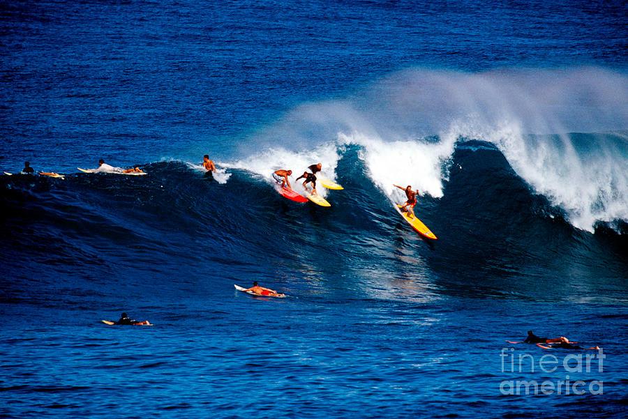 Surf Photograph - Hawaii Oahu Waimea Bay Surfers by Anonymous