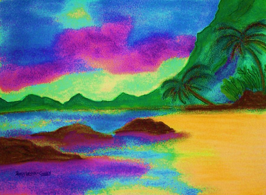 Pastels Painting - Hawaii Tropical Ocean Vision by Peggy Leyva Conley