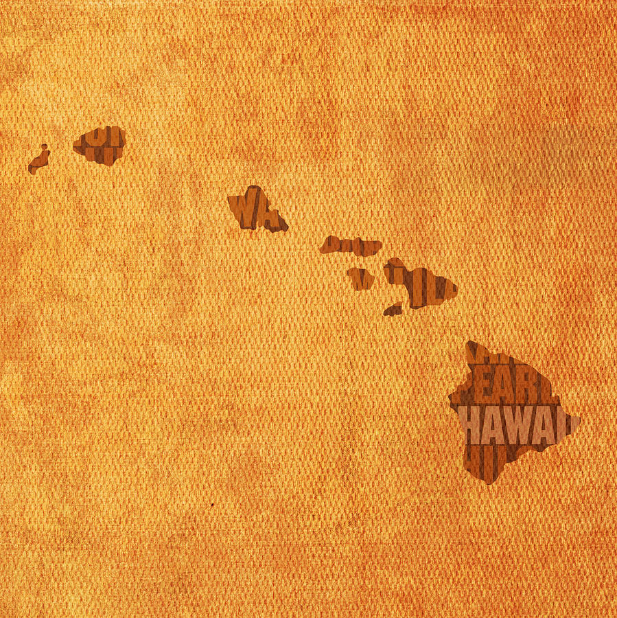 Hawaii Word Art State Map On Canvas Mixed Media by Design Turnpike