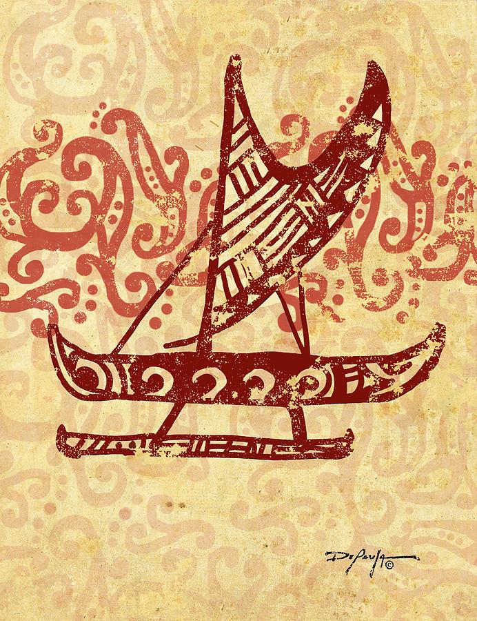 Hawaii Mixed Media - Hawaiian Canoe by William Depaula