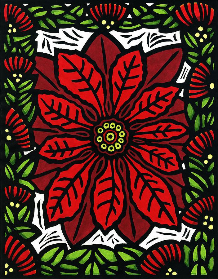 Poinsettia Mixed Media - Hawaiian Christmas Joy by Lisa Greig