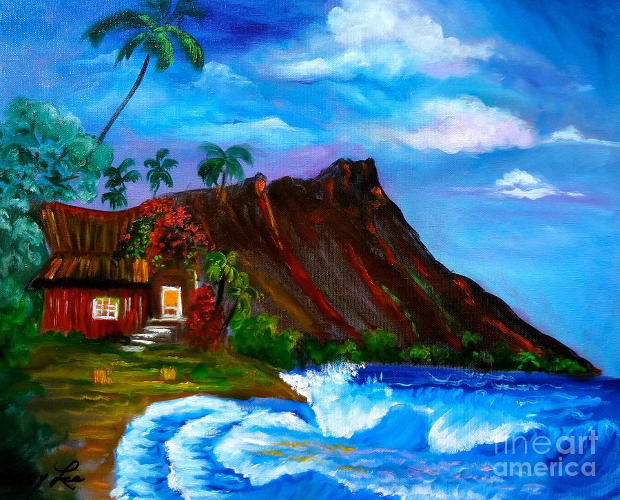 Diamond Head Painting - Hawaiian Homestead At Diamond Head by Jenny Lee