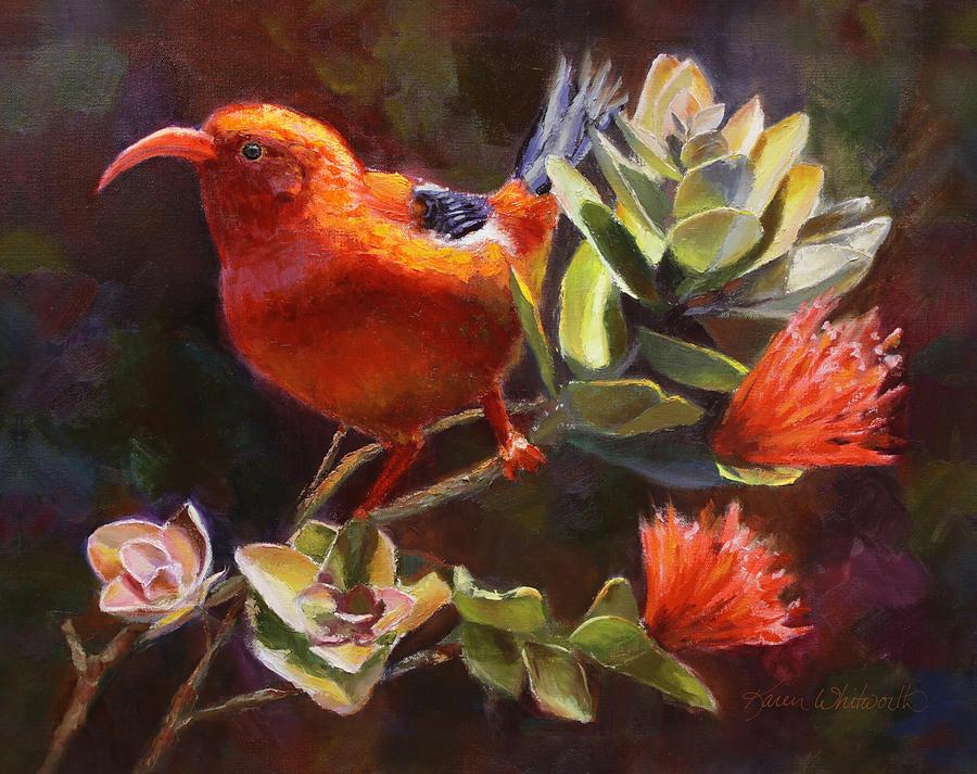 Hawaiian IIwi Bird And Ohia Lehua Flower Painting