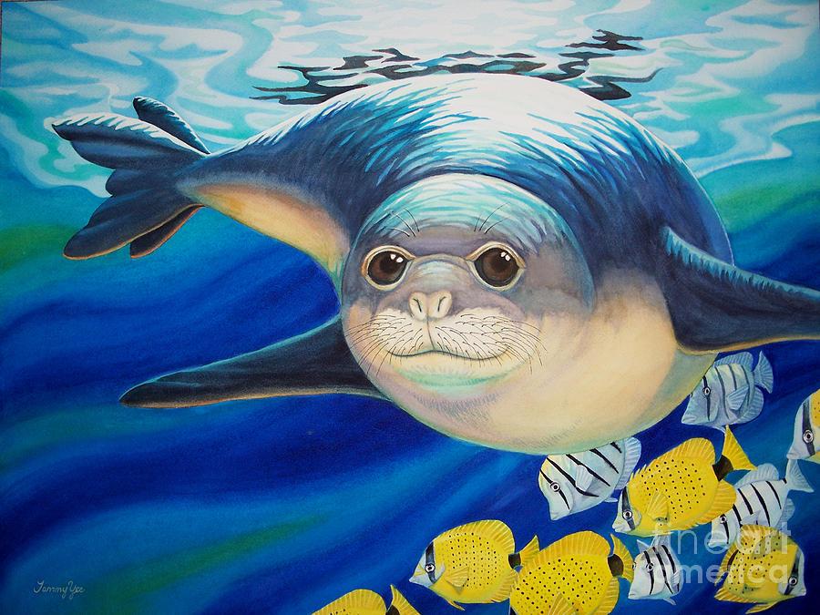 Hawaiian Painting - Hawaiian Monk Seal For Noaa Monk Seal Recovery Program by Tammy Yee