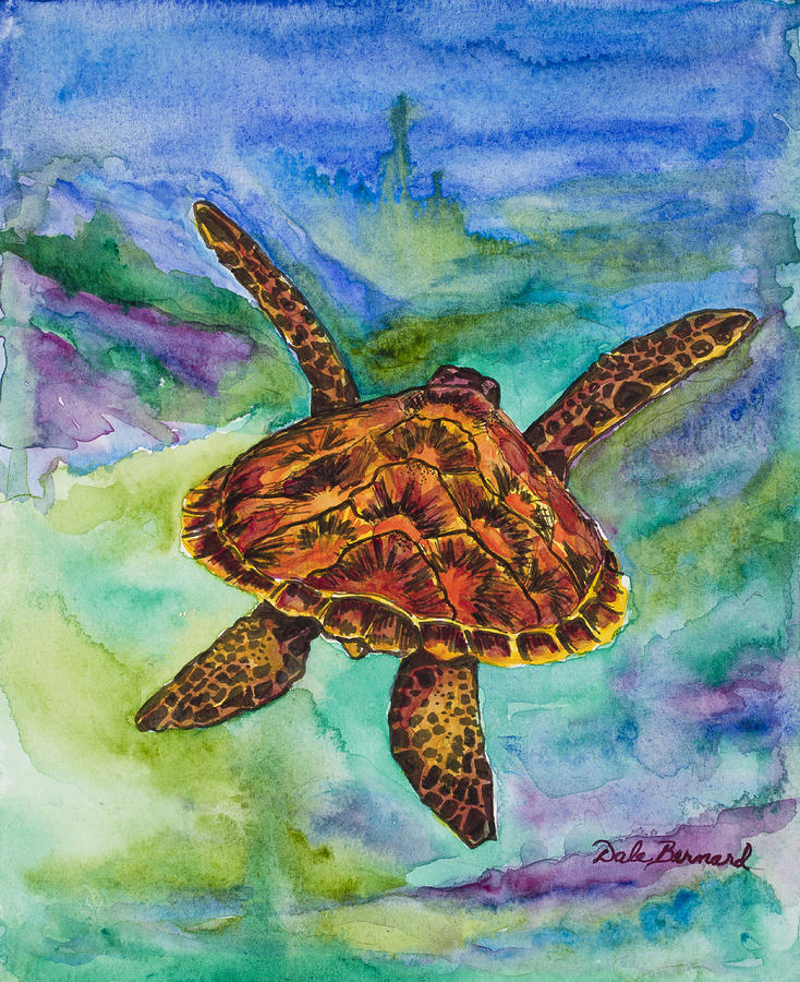 Turtle Painting - Hawaiian Sea Turtle by Dale Bernard