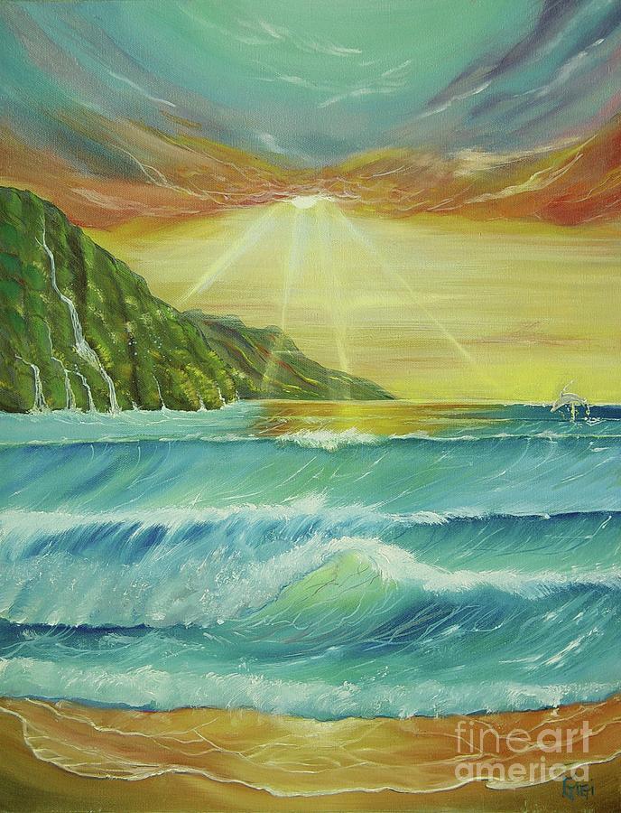 Ocean Painting - Hawaiian Sunset by Gigi  Cook
