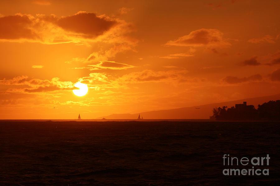 Waikiki Photograph - Hawaiian Sunset by Mary Mikawoz