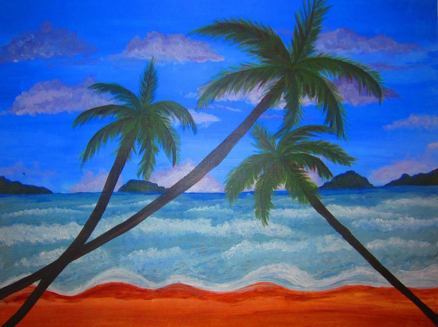 Palm Trees Painting - Hawaiin Beach by Haleema Nuredeen