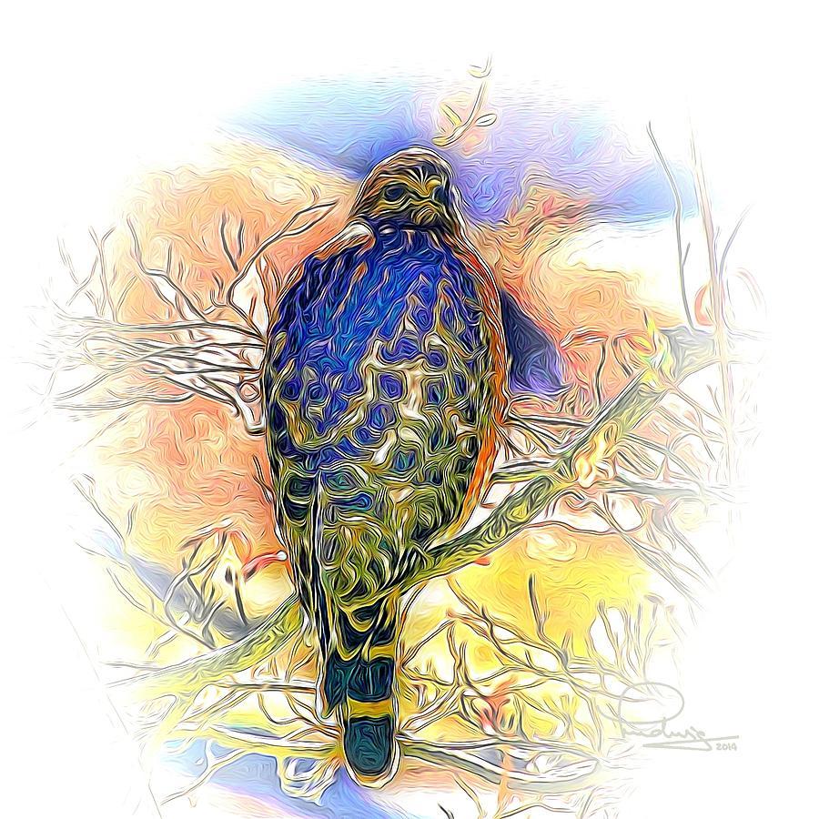 Hawk Digital Art - Hawk 2 by Ludwig Keck