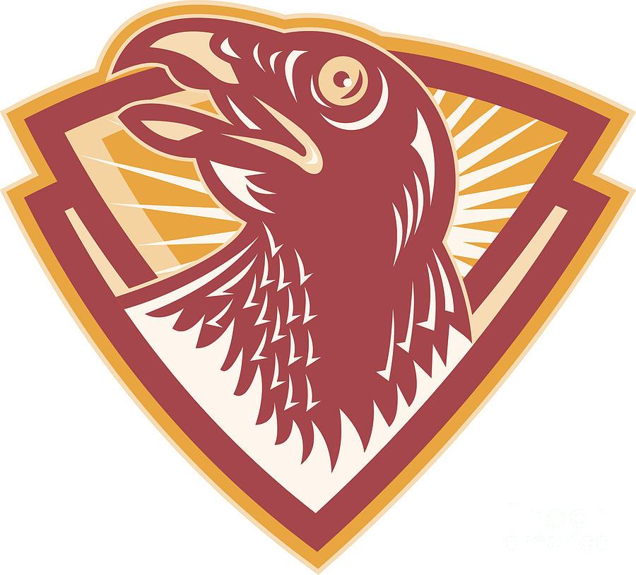 Hawk Digital Art - Hawk Head Shield Retro by Aloysius Patrimonio