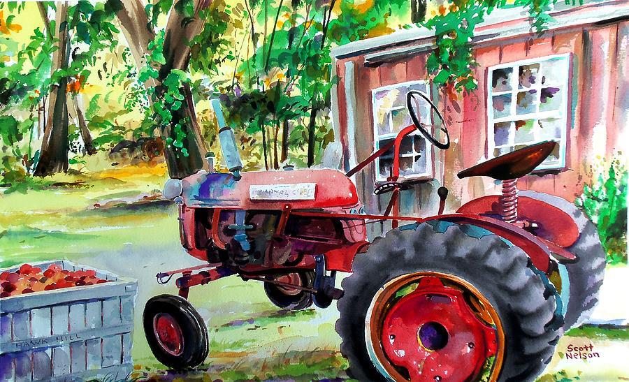 Hawk Hill Painting - Hawk Hill Apple Tractor by Scott Nelson